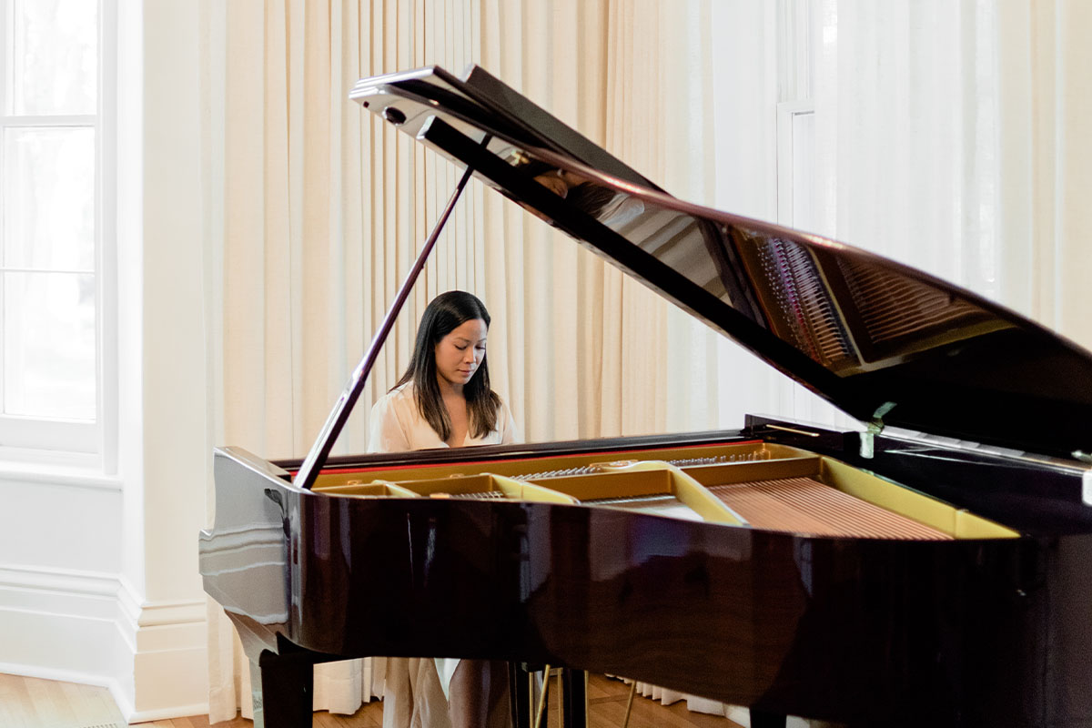 Dian Wilkie Performing at Home Concert on Grand Piano - Luxe Duo Music Ottawa - Cello and Piano - Wedding Musicians Corporate Events Private Concerts